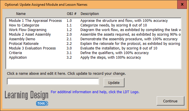 Example of updated Module and Lesson names