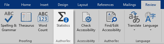AuthorTec Statistics button on Review Tab ribbon in Microsoft Word