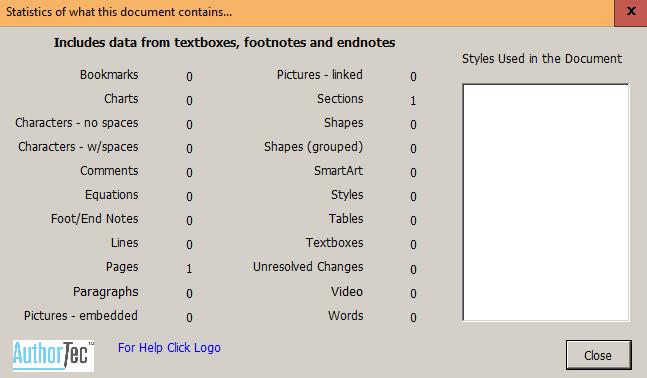 AuthorTec Statistics Dialog Box