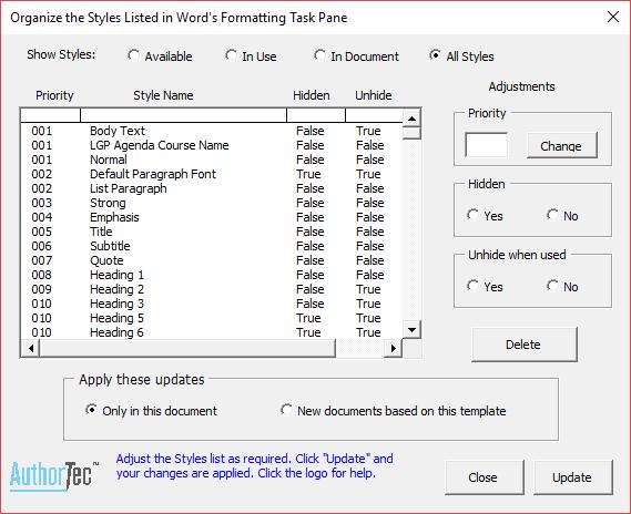 AuthorTec Manage Styles Dialog Box
