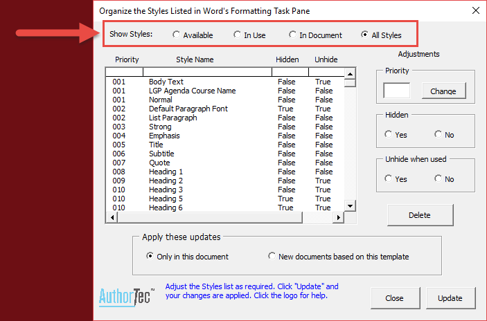 Show Styles Options in AuthorTec Manage Styles Dialog Box in Word