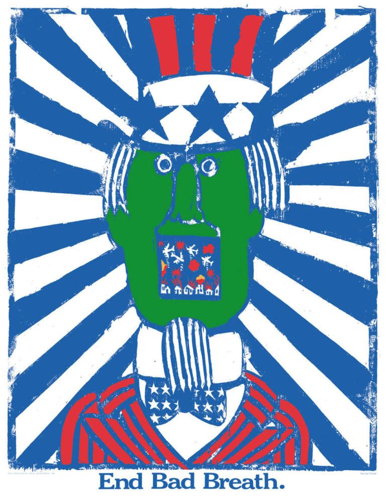 """""""End Bad Breath,"""" poster by Seymour Chwast (1968) (© Seymour Chwast)"""