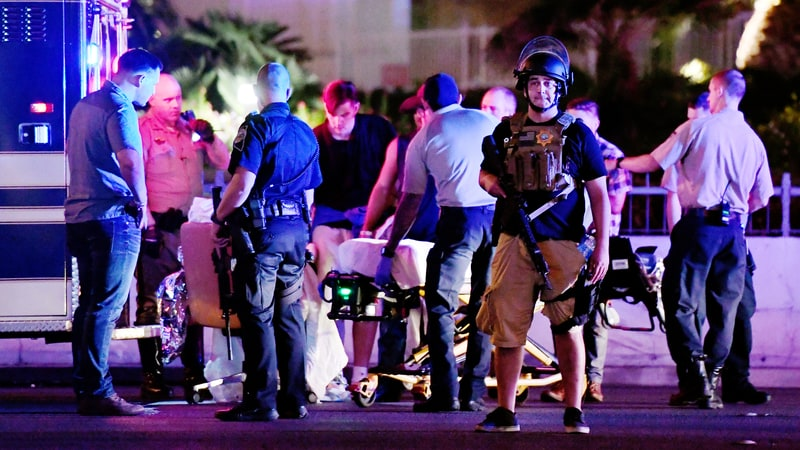 The aftermath of the Las Vegas shooting Sunday. Ethan Miller/Getty Images