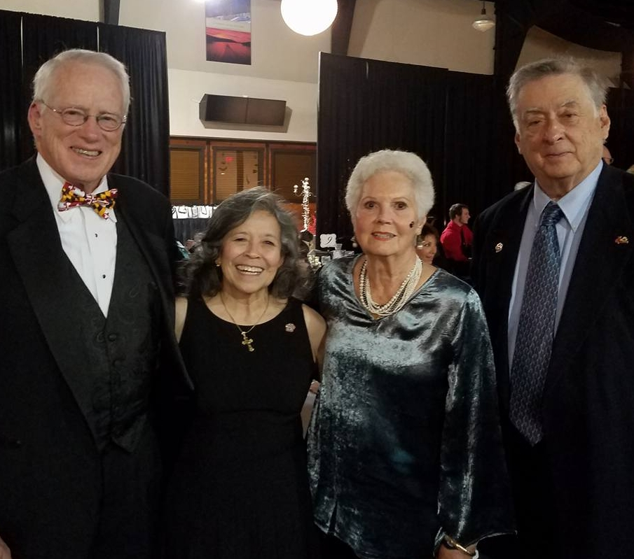 """Brit"" Kirwan, Merceds Pellet, Patricia Kirwan, and Michael Pellet at the 2016 ""Black Tie & Tails"" gala. Brit and Patty Kirwan were the honorary chairs of the fundraiser for HART for Animals."