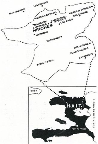 Map of Haiti with a blowup of Hinche