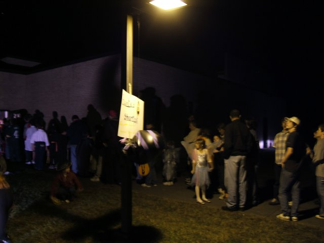 "The long line for the ""Haunted Shortcut"" to the party"
