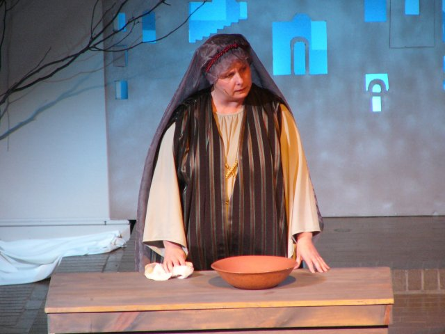 The Innkeeper struggles with her decision in turning away Joseph and Mary