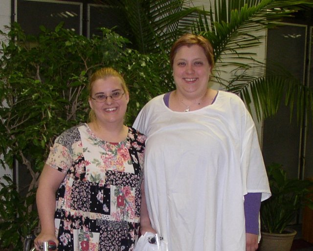 Newly baptized Jackie with her sponsor Teresa after the Easter Vigil wearing big smiles on their faces!