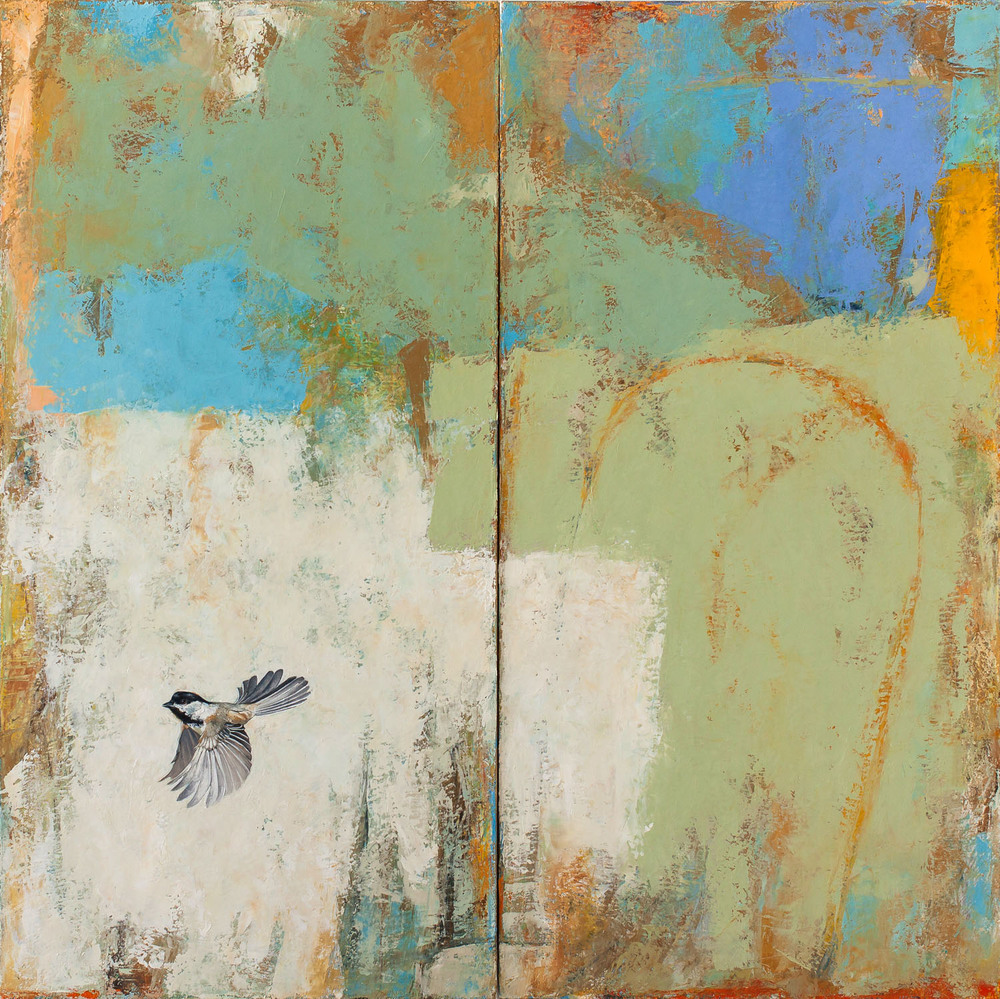 Open Field   2013 oil on canvas 40 x 40 inches (diptych)  Private collection