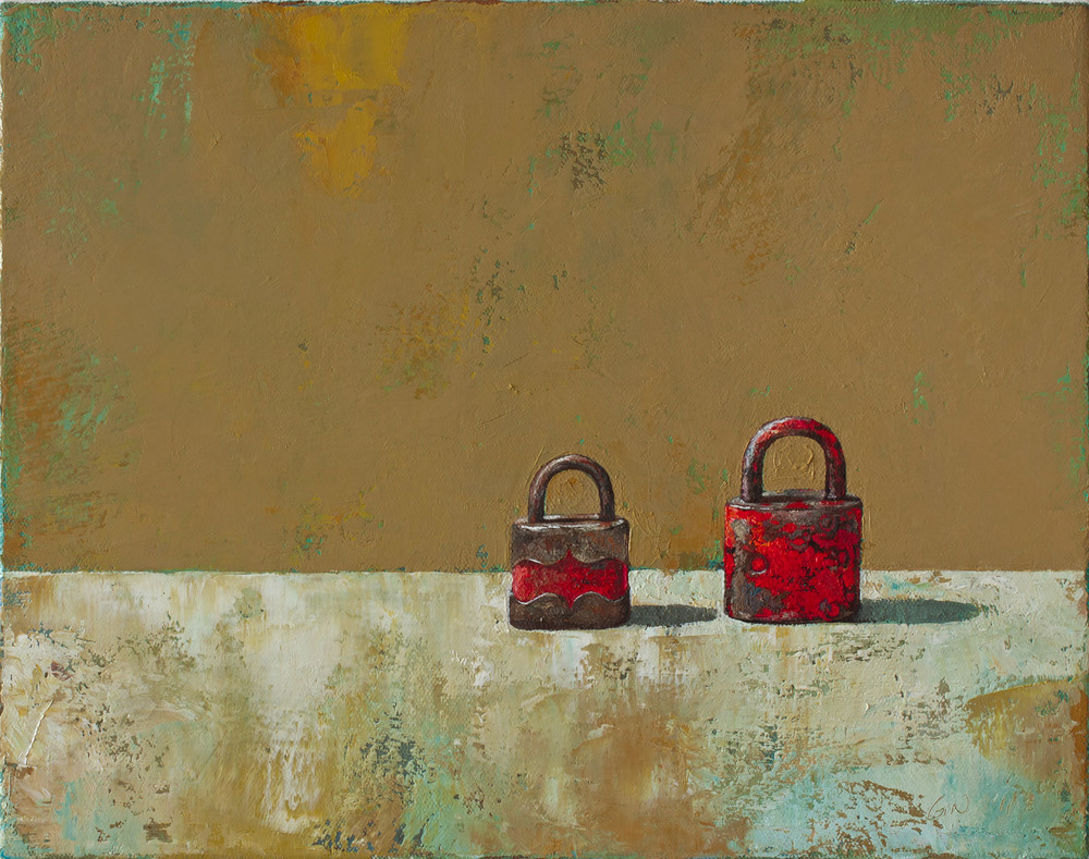 "Two Red Locks  2011 oil on canvas 11"" x 14""  Private collection"