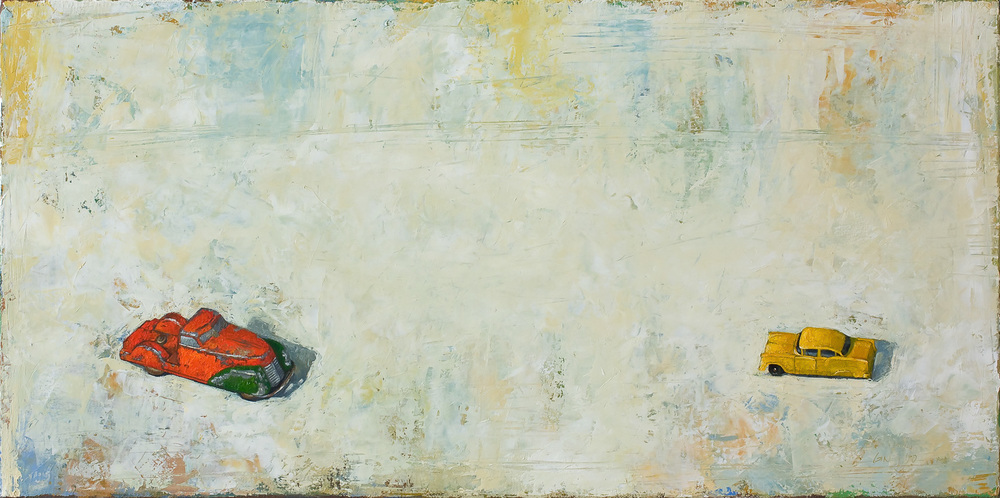 Duel   2010 oil on canvas 15 x 30 inches  Private collection