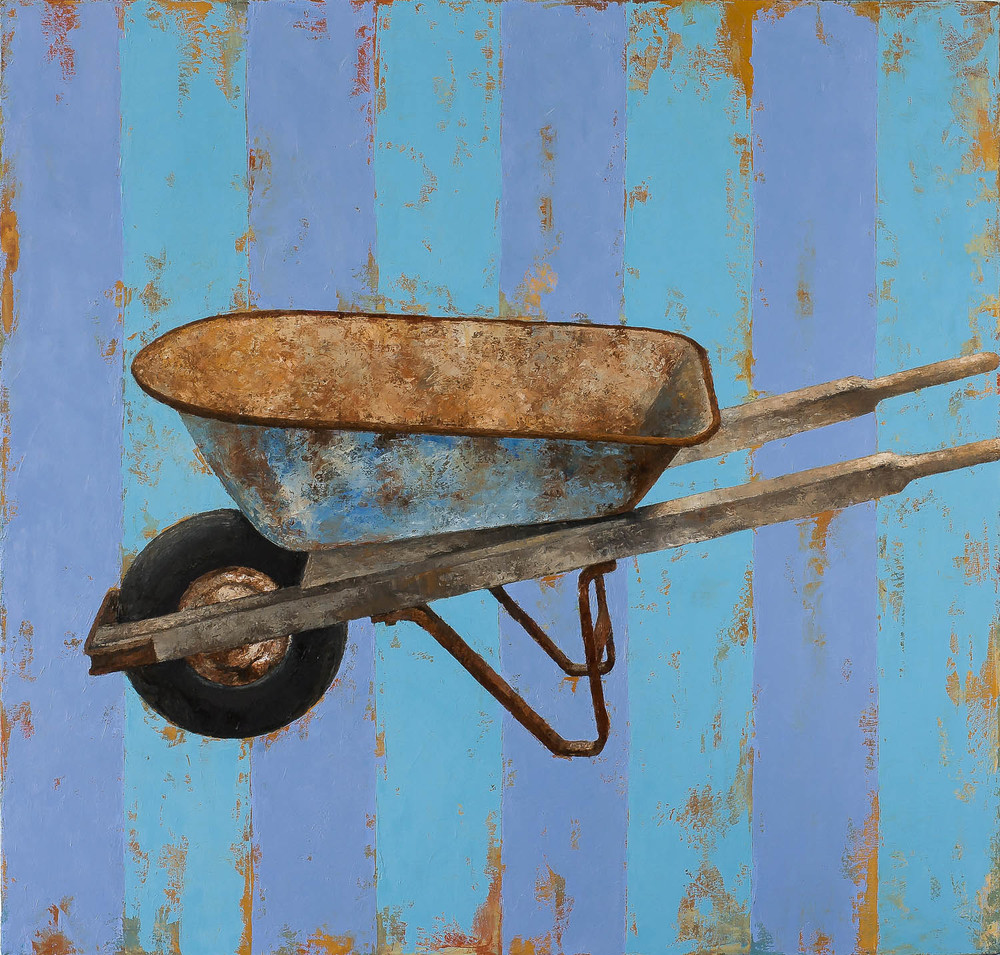 "Kentucky Wheelbarrow  2009 oil on canvas 42"" x 44""  Private collection"