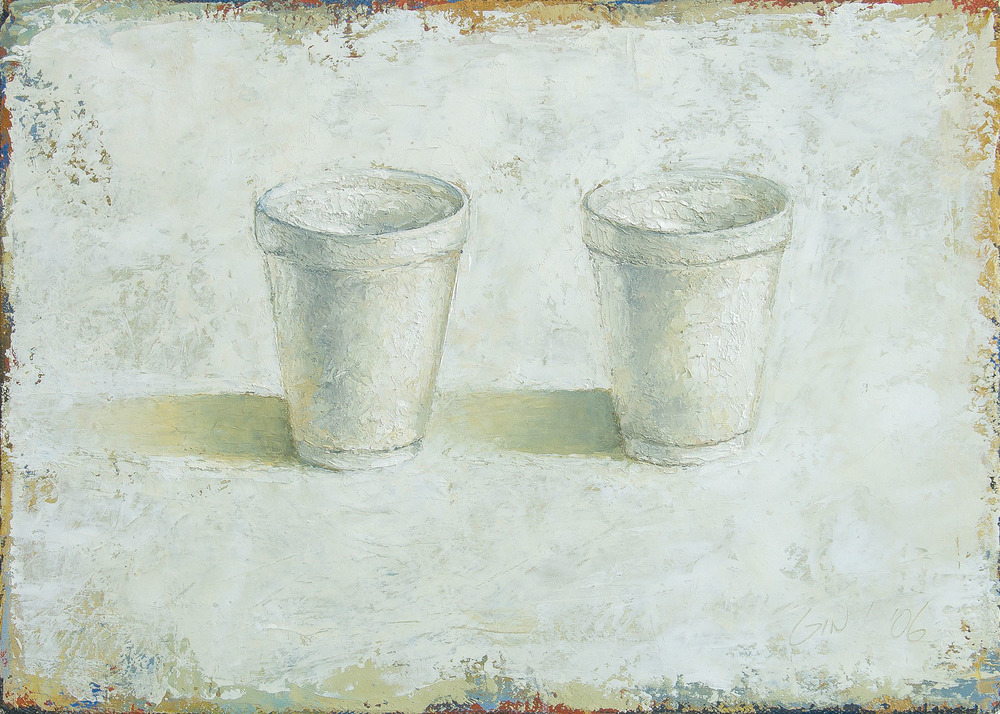 "Styrofoam Cups  2006 oil on canvas 12"" x 16""  Private collection"