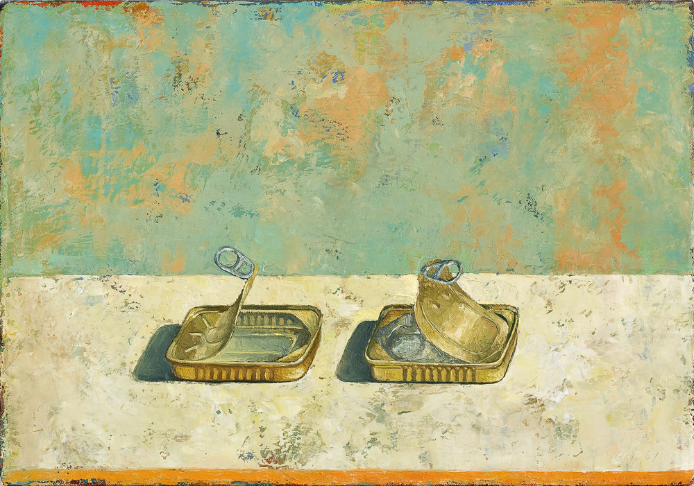 Two Sardine Cans   2007 oil on canvas 14 x 20 inches  Private collection