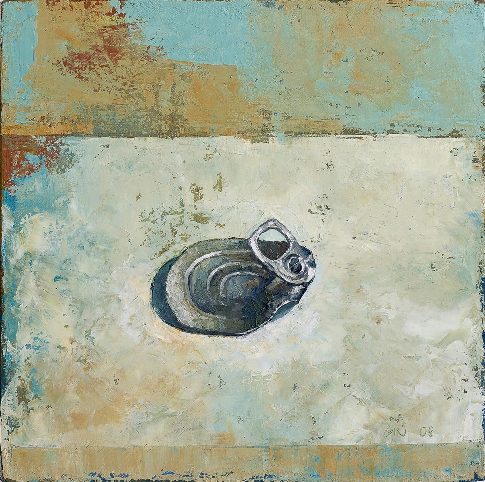 "Soup Can Lid  2008 oil on canvas 10"" x 10""  Private collection"