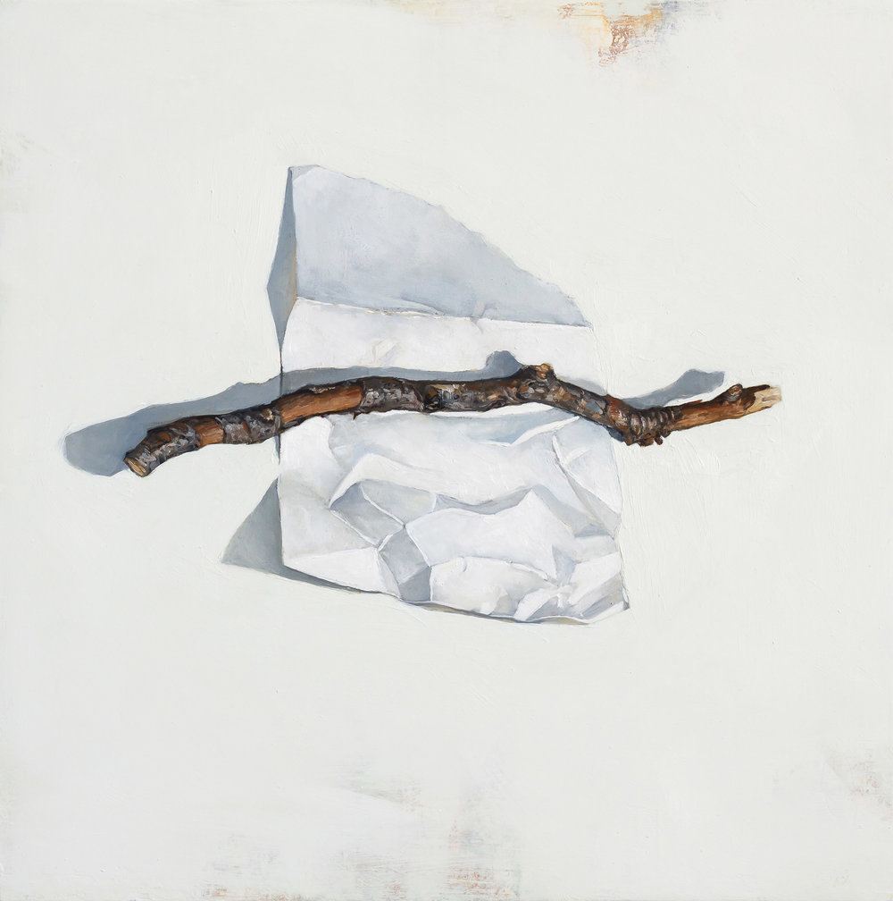 Paper and Stick   2017 oil on panel 12 x 12 inches  available at  Water Street Gallery