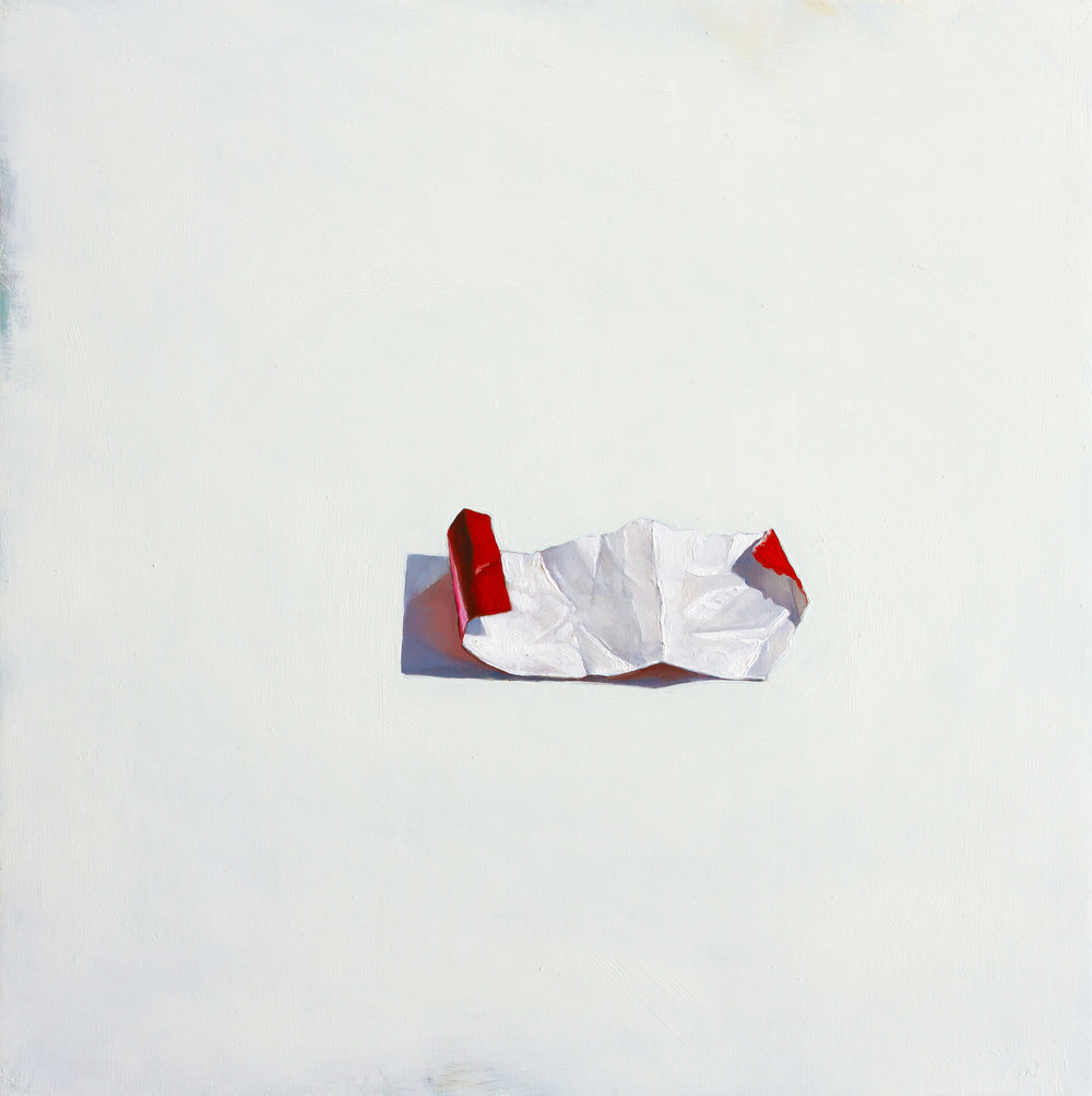 Red and White Paper   2017 oil on panel 12 x 12 inches  available at  Water Street Gallery