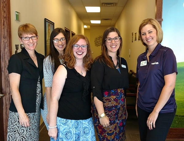 Northeast Iowa Doulas team and Dr. Stacy Carlin From left to right: Kelly Fischer, Alaina McElmeel, Victoria Cartland, Kaity Klotzbach, Dr. Stacy Carlin (Missing NEID affiliates: Bethany Anderson and Trish Morfitt)