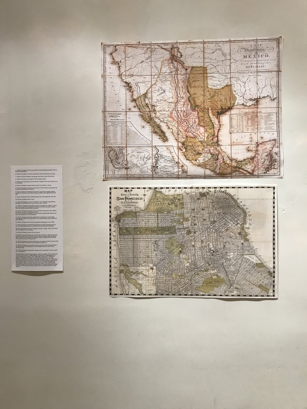 Guadalupe to Chingona: A Narrative of Migration y Corozón   - Installation shot, in collaboration with Ace Lehner (maps, map tacks, text), 2017
