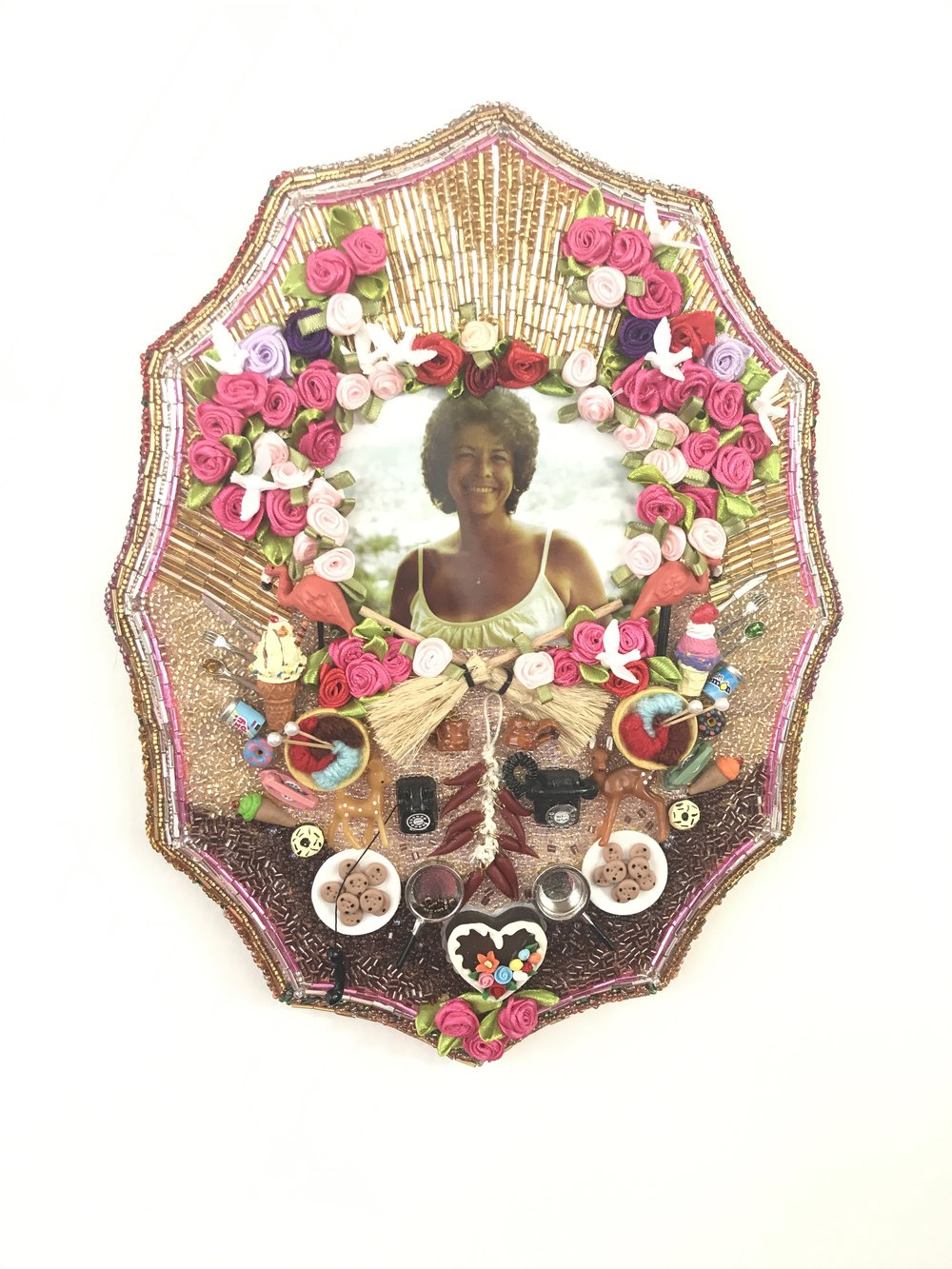 Margarita AKA Cookie - Multimedia assemblage (photograph, beads, miniatures), 12