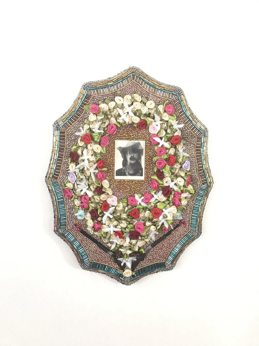Nacho AKA Paloma - Multimedia assemblage (photograph, beads, miniatures), 2017
