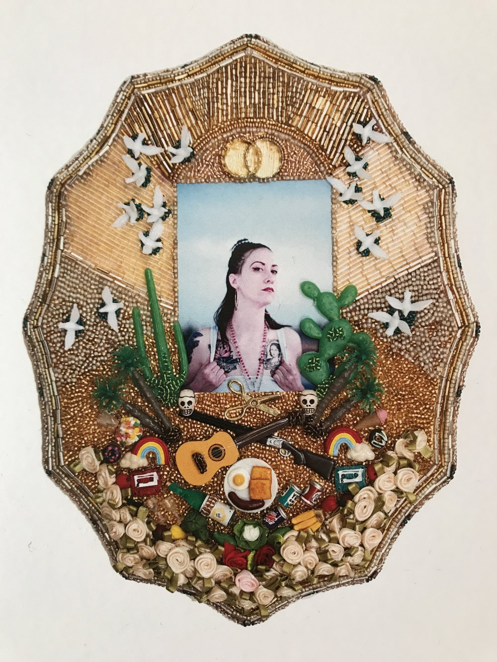 Chingona AKA Libby - Multimedia assemblage (photograph, beads, miniatures), 2017