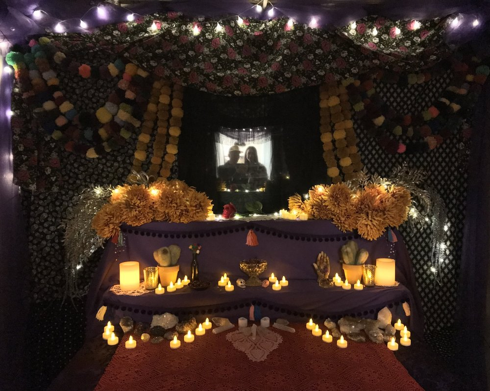 Altar  - Installation shot in collaboration with Ace Lehner (pom poms, crystals, lace doilies, lights, fabric, flowers), 2017