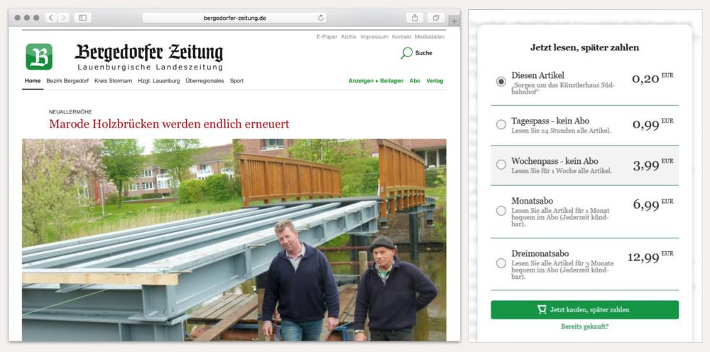 Website Bergedorfer Zeitung mit Bezahldialog für digitale Inhalte