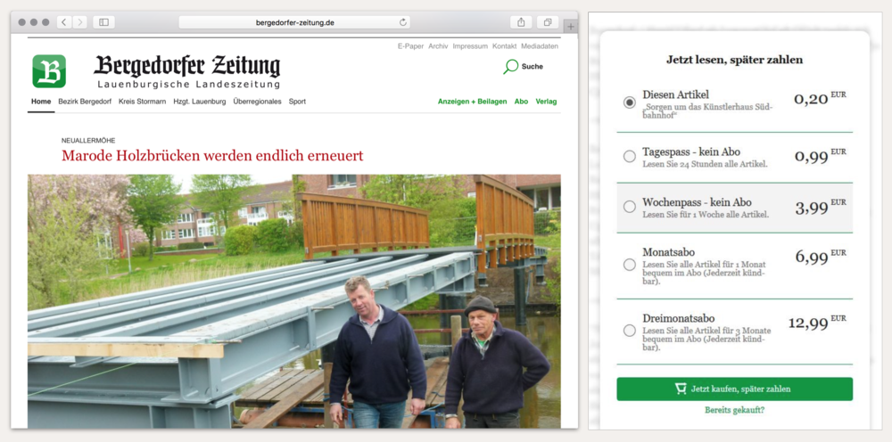 Website Bergedorfer Zeitung wih listed payment options