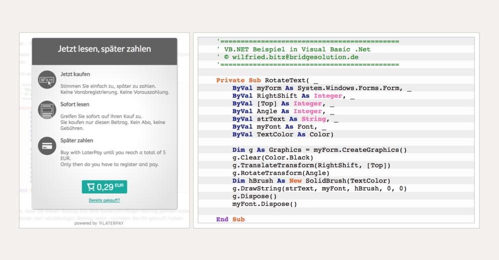 Bezahldialog für VB.Net Code zum Download auf BridgeSolution.de