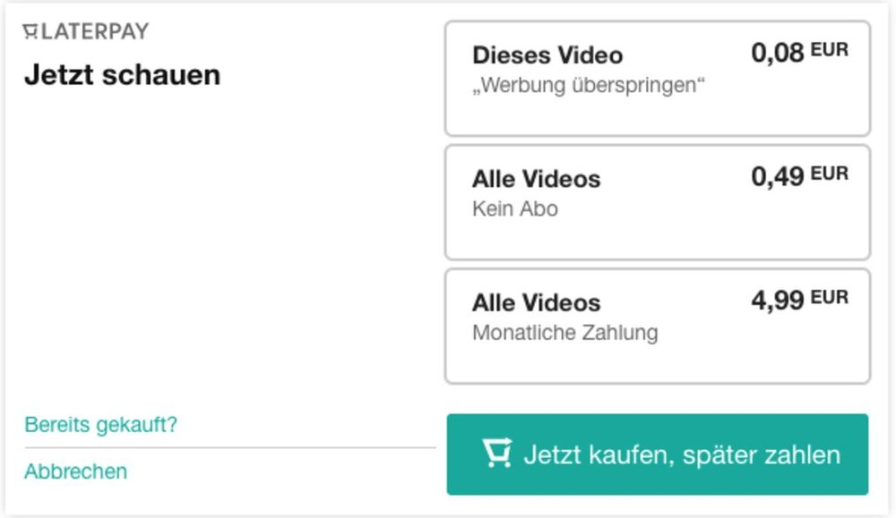 """""""LaterPay for video"""" dialog box"""