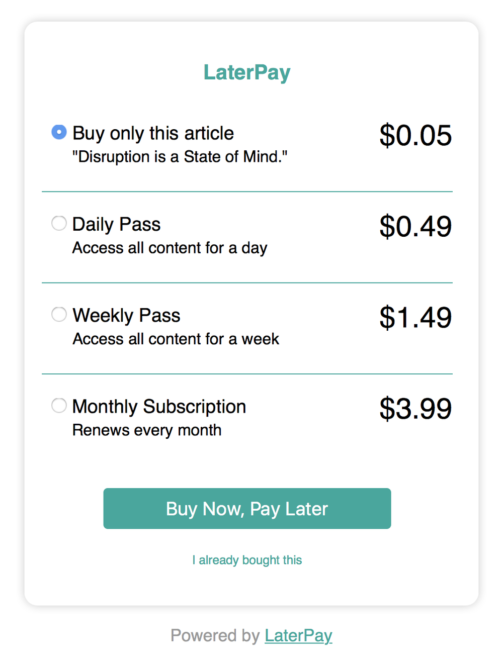 LaterPay - daily/weekly subscription mask