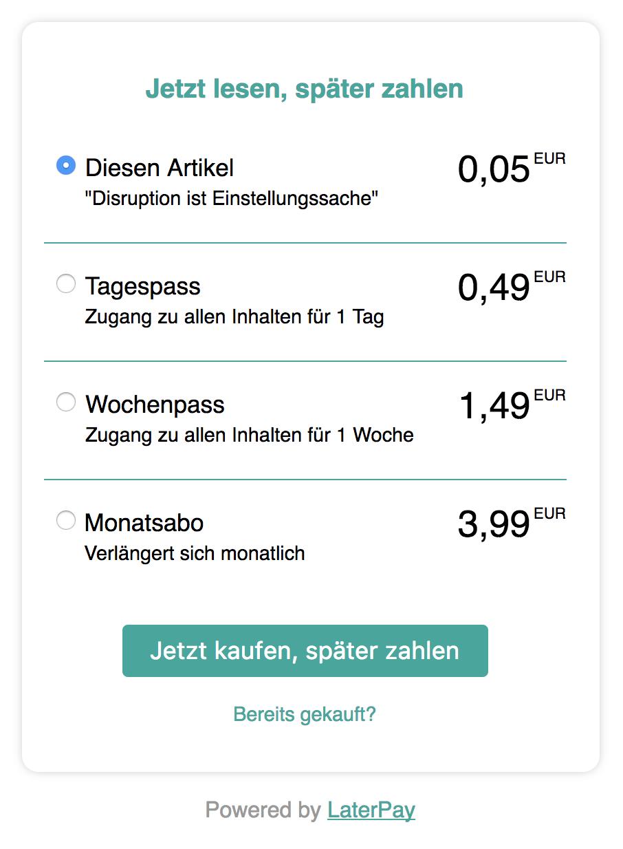 """""""AMP Access LaterPay"""" Dialogfeld für Tages- und Wochenpässe sowie Monatsabos"""