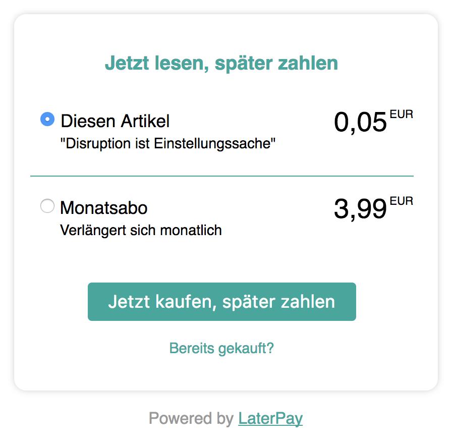 """""""AMP Access LaterPay"""" Dialogfeld für Einzelkäufe oder Monatsabos"""