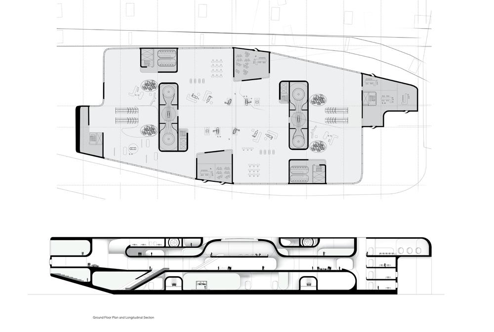 Ground floor plan and longitudinal section