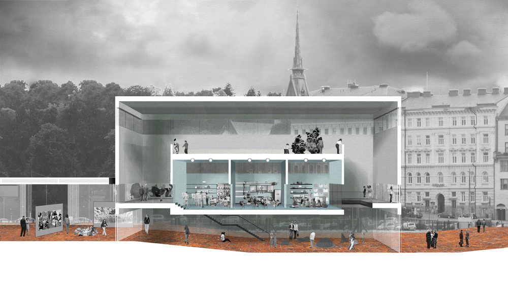 Perspective section through the education hub