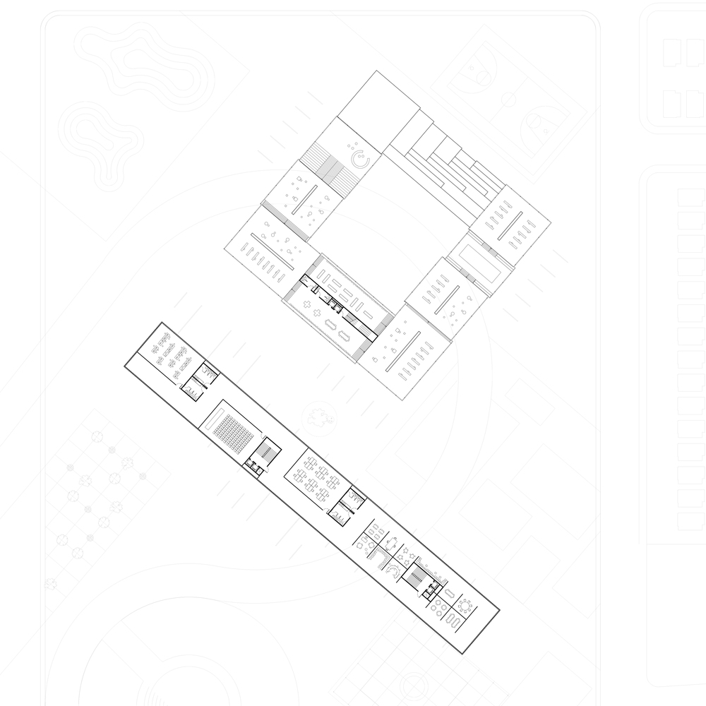 Second floor plan of trade school and library