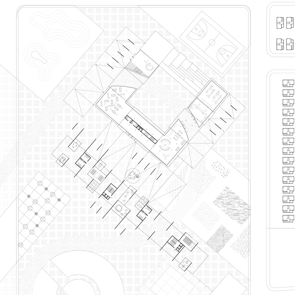 Ground floor plan of trade school and library