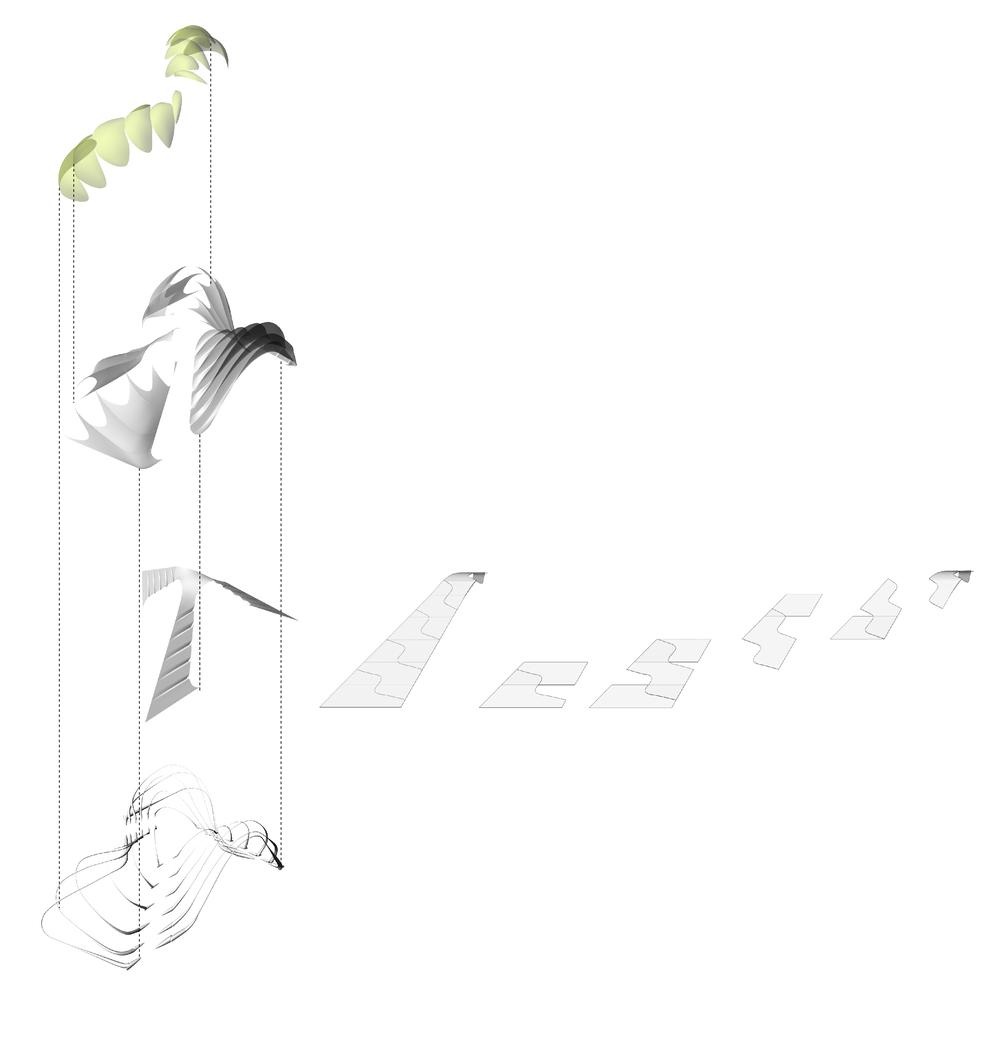 Fiber glass arches, carbon fibre clip profiles, membrane skin and pneumatic skin
