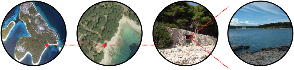 Island of Koludarec, Bocca Falsa Bay, Existing opening in the stone wall, View through the opening