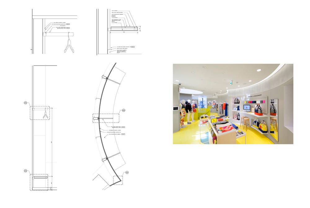 Plan, section and details of the Lounge Area