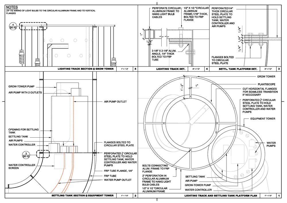 Settling tank and lighting track details