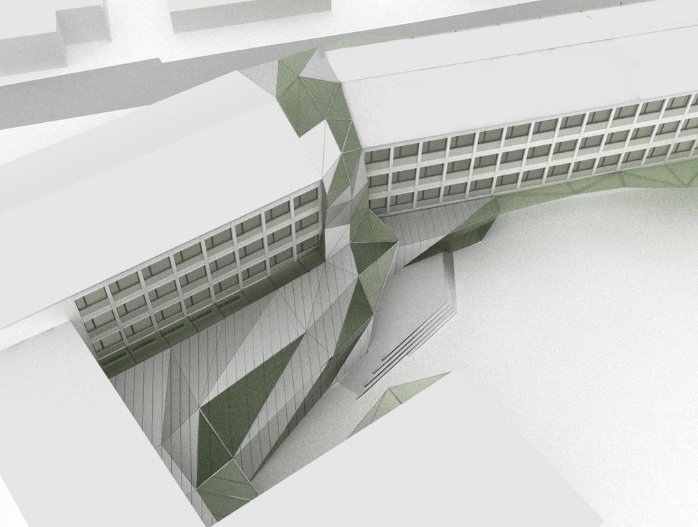 Filling the gap between the 2 existing school buildings