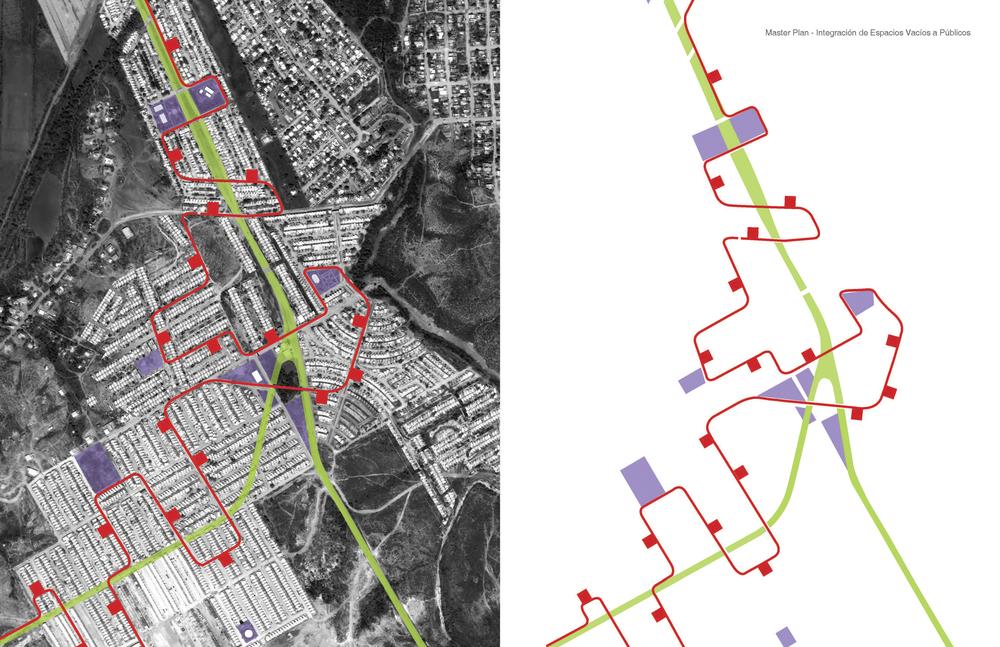 Linear park, Public spaces and bike path