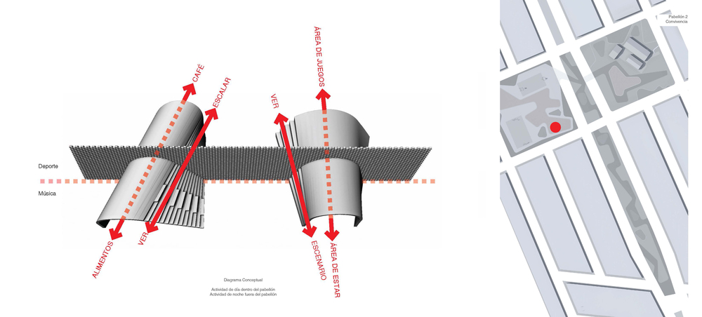 Concept diagram and location of the Cave Pavilion