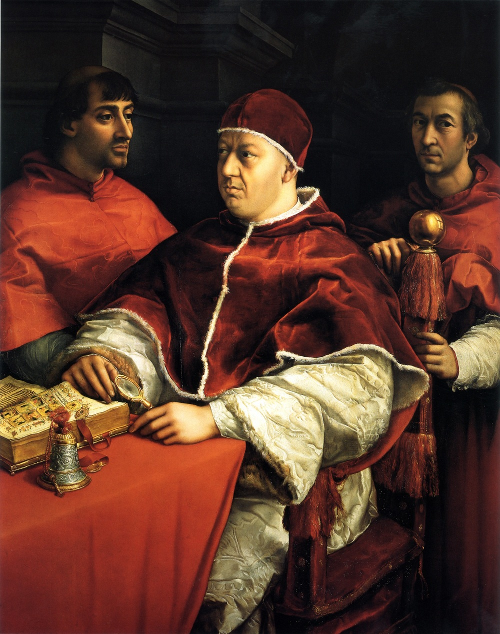 """""""Portrait of Popo Leo xwith two cardinals"""" (both cousins) by papal artist (and future ninja turtle) Raphael."""