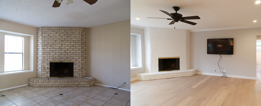 I loved that this house had an amazing brick fireplace. It added so much character to the home. All it needed was to be cleaned and painted! Of course, the very first item to be moved into our house was the flat screen. I wonder whose idea that was...?