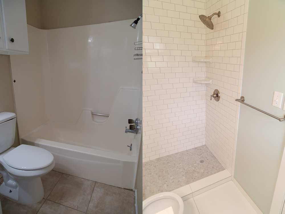 This is our master bathroom transformation. We took out the tub/shower and made a stand-up shower. The glass is coming in for the seamless glass door and I'm so excited! We did white subway tile for the wall, Carrera marble squares for the flooring, and a solid white tile for the bathroom floor. My favorite part of this bathroom (besides the marble) is definitely this paint color. In the daytime it is the perfect shade!