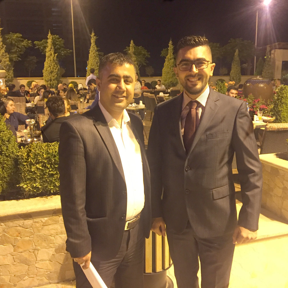 Ahmed Qadir Balkhayi and a new friend at dinner with Sovereignty First in Erbil.