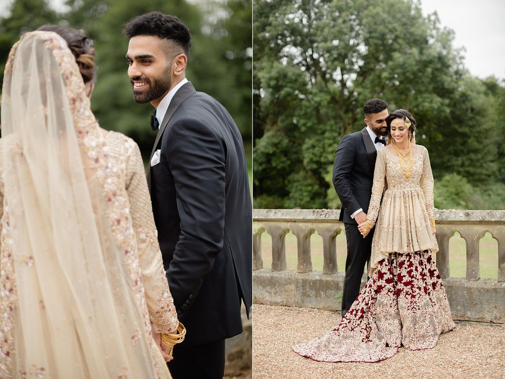 Pakistani couple portraits at Wroxhall Abbey, Coventry
